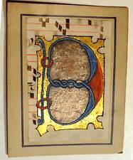 Enluminure, Grande BIG Lettre ornée B, 15ième Manuscrit manuscript parchemin,liv