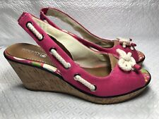 Sperry Top Sider Women's Fuschia Canvas Sling Back Peeptoe Wedge Sandals Sz-10 M
