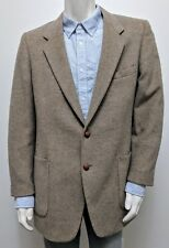 42R Oleg Cassini 2-Button SOFT Wool Blazer/Sport Coat Tan/Brown Herringbone