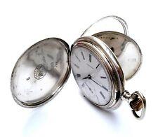 Antique Pocket Watch LONGINES Hunter Art Deco Solid Silver 1900c Working 52mm