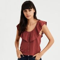 American Eagle Cropped Embroidered Ruffle Faux Button Up Top Brown Womens Sz XL