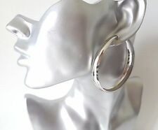 Big & fab plain silver tone CLIP ON wide hoop earrings 6cm - 2.4""