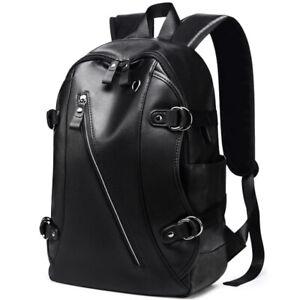 Women Mens Vintage Leather Backpack Waterproof School Bag Travel Rucksack Laptop