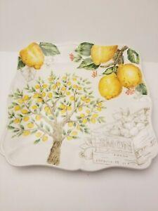 "Maxcera Yellow Blossom Lemon Tree Dinner Plates Set of 4 Square Ceramic 11"""