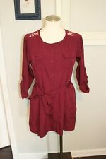 Oh! Mamma Wine Red Roll Up Sleeve Button Up Lace Back Tunic Blouse Shirt Size S