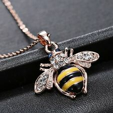 Fashion Sweet Crystal Rose Gold Bee Honey Delicate Pendant Necklace Jewelry Gift