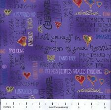 Fabulous Felines Laurel Burch CAT QUOTES PURPLE Text OOP Fabric By the FQ 1/4 YD