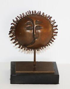SERGIO BUSTAMANTE-Mexican Surrealist-LIM.ED Signed Bronze-Sun & Crescent Moon