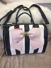 NEW! Betsey Johnson Weekender Travel Bag Luggage Black and Cream Stripe Pink Bow