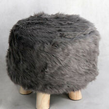 Round Ottoman Slipcover Footstool Chair Fluffy Cover Decorative 30cm Grey