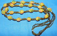 VINTAGE MURANO WEDDING CAKE ART GLASS YELLOW BEADS NECKLACE