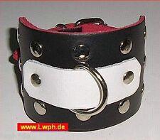 10 Lederarmbänder mit Nieten + Ring Schwarz mit weissen Oberteilen aus Leder wow