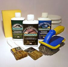 "Renovo ""BLACK"" Convertible Hood Soft Top Reviver COMPLETE KIT with brushes etc."