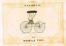 "Catalogue Advertising - Carriages by G & D Cook - ""MOBILE TOP BUGGY"" - 1860"