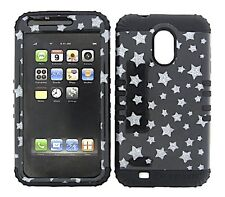 HYBRID Cover Case+Sprint Samsung Galaxy S2 D710 Glitter Star on Black Silicone