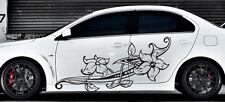 Floral Flower Car Boat Vinyl Graphics Decal Left & Right Side Vinyl Sticker z970