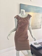 TWELFTH STREET BY CYNTHIA VINCENT BRONZE METALLIC PLEATED RUFFLE DRESS SIZE 2