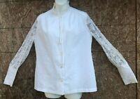Vintage 70s LEE MAR Pageant Prairie Sheer White Blouse  Boho Ruffle Lace Medium