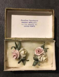 Orecchini Vintage Ramoscello Rose Fiori Porcellana Di Capodimonte