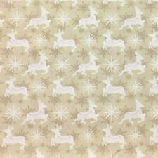 Christmas Deer Snowflake Frosty Xmas Cream Quilting Quilt Fabric FQ