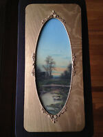 Antique 19th C English Watercolor Landscape Sunset Swamp Meadow Framed - Signed