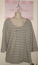 OLD NAVY ~ Gray & White Stripe Cotton Comfy Top/Sweater Sz XXL * VERY GOOD COND.