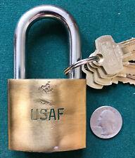 Vtg BEST Company Logo Hi-Security Padlock US Air Force + 3 Kaba Keys + Kaba Core