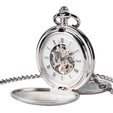 Steampunk Silver Luxury Smooth Skeleton Vintage Mechanical Pocket Watch Windup