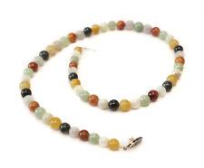 Multicolore Giadeite Perline Collana con Argento Sterling e Perla Chiusura