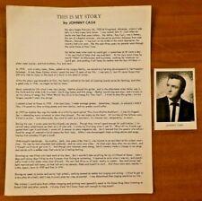 "Original Johnny Cash Snapshot Photo 2.5"" x 3.5"" w/ Orig This Is My Story Draft"