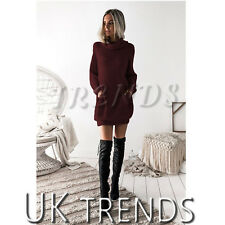 UK Womens Chunky Knitted Dress Roll Neck Jumper Dress Ladies Mini Size 6-14