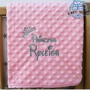 Personalised Baby Blanket Luxur Pink Bubble Style Grey Font Disney Princess Gift