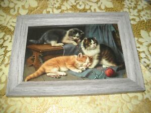 KITTENS TIRED FROM PLAY 4 X 6 gray WOOD framed picture Victorian style art print