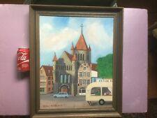 "Primitive - Naif Painting ""Saint Quentin Tournai"" Belgium by Maria C. Wallace"