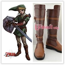 The Legend of Zelda Link Anime Brown Costume Shoes Cosplay Boots Customized Size