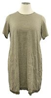 LOGO by Lori Goldstein 2X dark loden striped linen blend S/S scoop neck dress