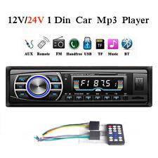 24V/12V 1 Din Car Radio Head Unit In-dash Stereo Bluetooth FM MP3 Player Audio