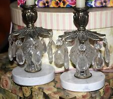 Pair Antique Girandole Marble Brass Crystal Prism Candle Holders Candelabras