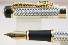 Jinhao Dragon No. 888 Series Fountain Pen, Silver Chiselled with Gold Trim