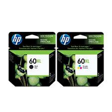 2 Genuine HP 60XL Black and Color  Inkjet Cartridges No Box but Sealed Foil Bag