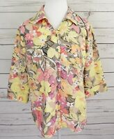 Kim Rogers Top Womens Petite 12P Yellow Pink Floral Button 3/4 Sleeve Collared