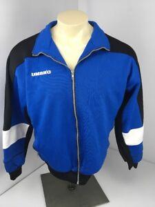 Vintage 1990's Track Jacket Soccer Futbol UMBRO Size Medium Black White Blue