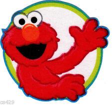 "3"" Sesame Street Elmo Circles Green Border Character Fabric Applique Iron On"