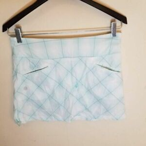 Athleta Womens Skort Blue White Grid Check Short Drawstring Waist Pockets 4P