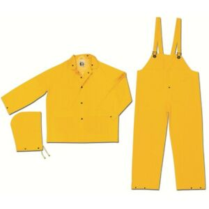 MCR 2003XL Classic Rainwear Yellow .35mm Polyester PVC 3-Piece Rain Suit Qty 10