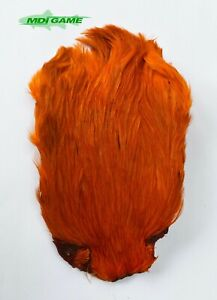 MDI Game Fishing Quality Dyed Orange Indian Cock Cape For Fly Tying (Ref:02)