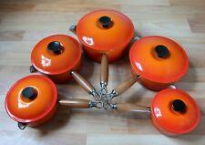 Genuine Le Creuset Five Pan Set Orange Cast Iron Round Saucepans Pots With Lids