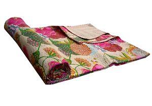 Kantha Quilt Cotton Handmade Vintage Bedspread Throw Gudari Bed Cover Blanket