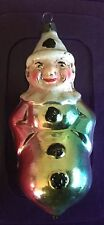 Vintage Glass German Rainbow Clown Christmas Ornament