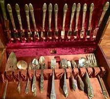 105p 1847 ROGERS BROS FIRST LOVE SERVICE for 12 FLATWARE SET CARVING ENGRAVED °